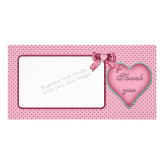 Romantic heart design / Thank you Personalized Photo Card
