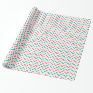 Romantic heart shapes wrapping paper