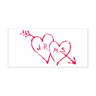 Romantic Initials Etched in Hearts Self-inking Stamp