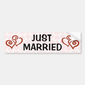 Romantic Intertwined Heart Pattern Just Married Car Bumper Sticker