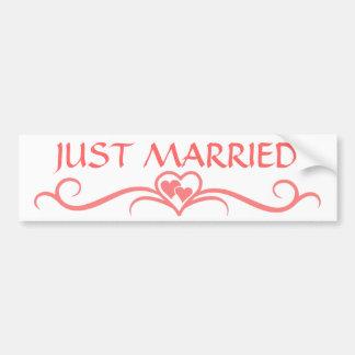 Romantic Just Married Pink Heart Scroll Wedding Car Bumper Sticker