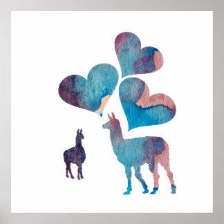 Romantic Llama Art Poster
