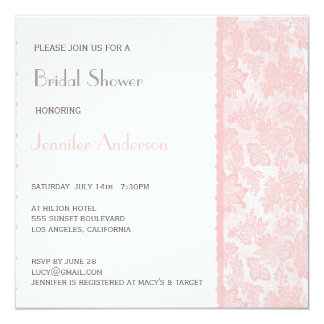 Romantic Lovely Pink Lace Bridal Shower Card