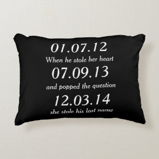Romantic Moments Personalized Dates Custom Wedding Decorative Cushion