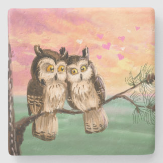 Romantic owl couple sunset love stone coaster