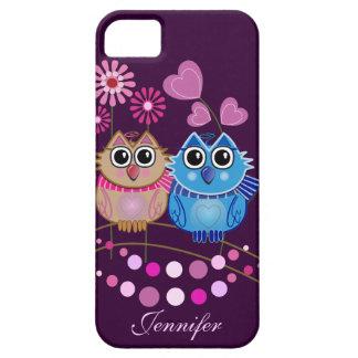 Romantic Owls couple & Custom Name iPhone 5 Cases