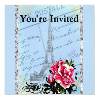 Romantic Paris Vintage Eiffel Tower & Rose 13 Cm X 13 Cm Square Invitation Card