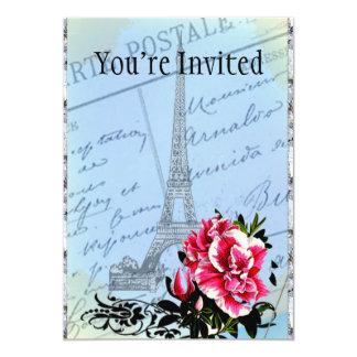 Romantic Paris Vintage Eiffel Tower & Rose 13 Cm X 18 Cm Invitation Card