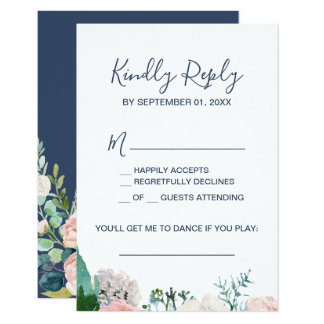 Romantic Peony Flowers | Blue Song Request RSVP Card