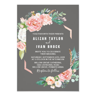 Romantic Peony Flowers | Gray Wedding Card