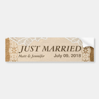 Romantic Petite Flowers On Lace Burlap Bumper Sticker