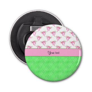 Romantic Pink Bows & Green Damask Bottle Opener