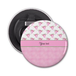 Romantic Pink Bows & Pretty Pink Damask Bottle Opener