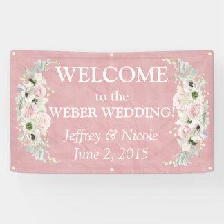 Romantic Pink Floral Wedding Banner