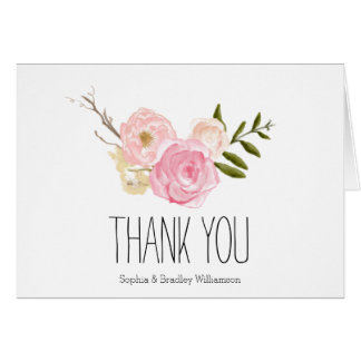 Romantic Pink Watercolor Garden Floral Thank you Note Card