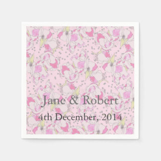 Romantic Pink Wedding Roses in Watercolor Disposable Serviette