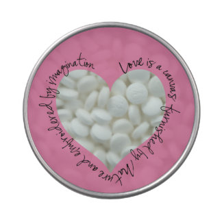 Romantic Quote Heart Window Candy Tin