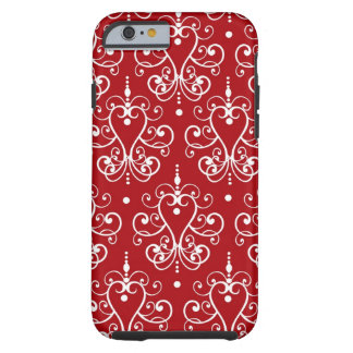 Romantic Red and White Vintage Damask Tough iPhone 6 Case