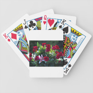 Romantic Red Rose Bouquet Bicycle Playing Cards