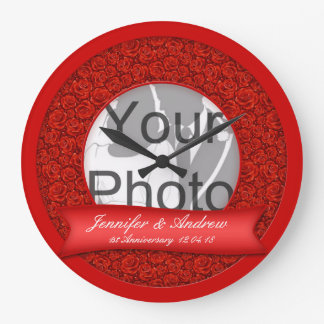 Romantic Red Roses 1st Anniversary Photo Template Large Clock