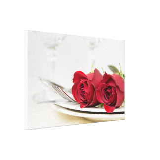 romantic red roses on dinner plate canvas print
