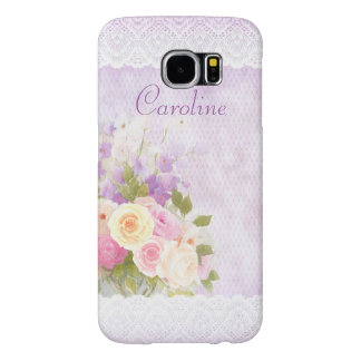 Romantic Roses and Lace Girly Purple Samsung Galaxy S6 Cases