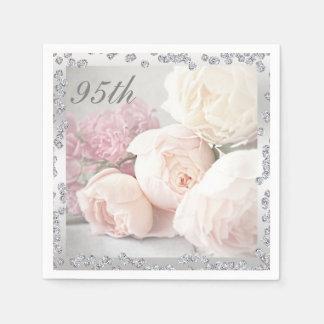 Romantic Roses Diamonds 95th Birthday Serviettes Paper Napkin