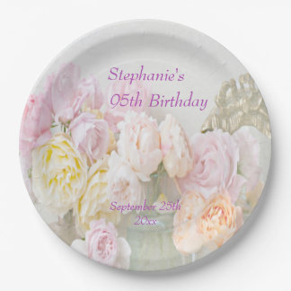 Romantic Roses in Jars 95th Birthday 9 Inch Paper Plate