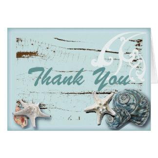 Romantic SeaShell Beach Wedding Thank You Card