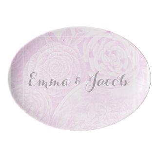 Romantic soft pink rose wedding table plate porcelain serving platter