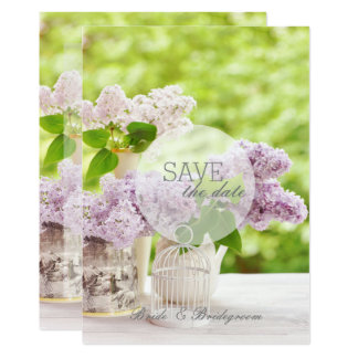 Romantic Spring Flower Floral Lilac SAVE the Date Card