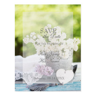 Romantic Spring Flower Floral Lilac SAVE the Date Postcard
