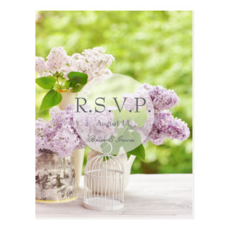 Romantic Spring Flower Floral White Lilac RSVP Postcard