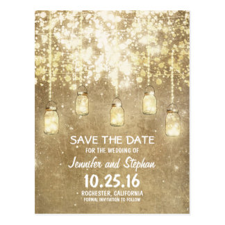 romantic string lights mason jars save the date postcard