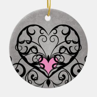 Romantic swirls and hearts wedding christmas ornament