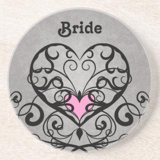 Romantic swirls and hearts wedding coaster