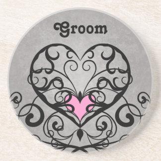 Romantic swirls and hearts wedding groom coaster