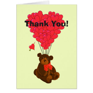 Romantic teddy bear and heart thank you note card