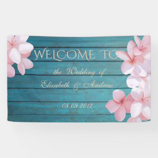Romantic Tropical Flowers,Wood Texture,Wed. Banner