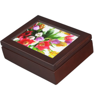 Romantic Tulip Flowers Floral Pattern Keepsake Box