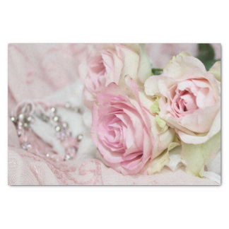 Romantic Vintage Pastel Pink Roses and Jewellery Tissue Paper