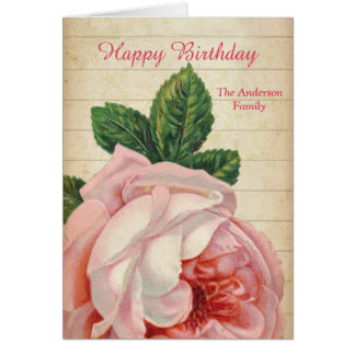 Romantic Vintage Rose Old Paper Customizable Card
