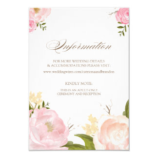 Romantic Watercolor Flowers Information Card 9 Cm X 13 Cm Invitation Card