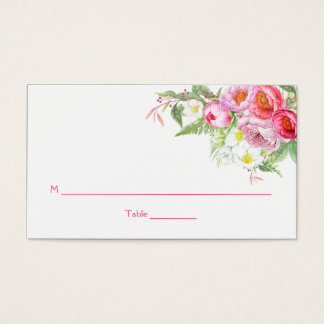 Romantic Watercolor Pink Peonies Roses Place Cards
