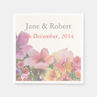 Romantic Watercolor Wedding Flowers Disposable Napkin