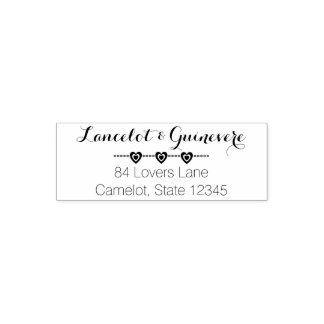 Romantic Wedding Monogram   Hearts Return Address Self-inking Stamp