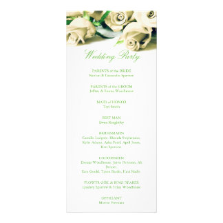 Romantic White Roses Wedding Program Personalized Rack Card