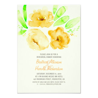 Romantic yellow floral rehearsal dinner card