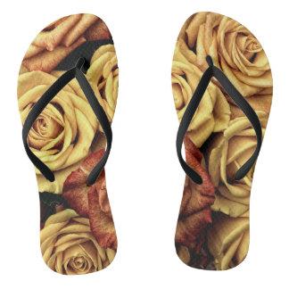 Romantic yellow Rose Flip Flops