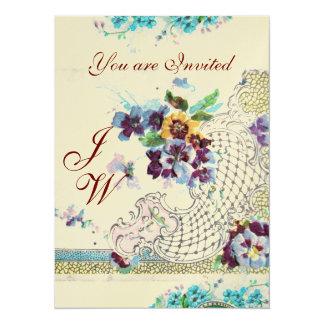 ROMANTİCA  2 MONOGRAM GOLD Metallic Paper 14 Cm X 19 Cm Invitation Card